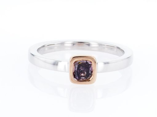 purple cushion diamond, white and rose gold stacking ring