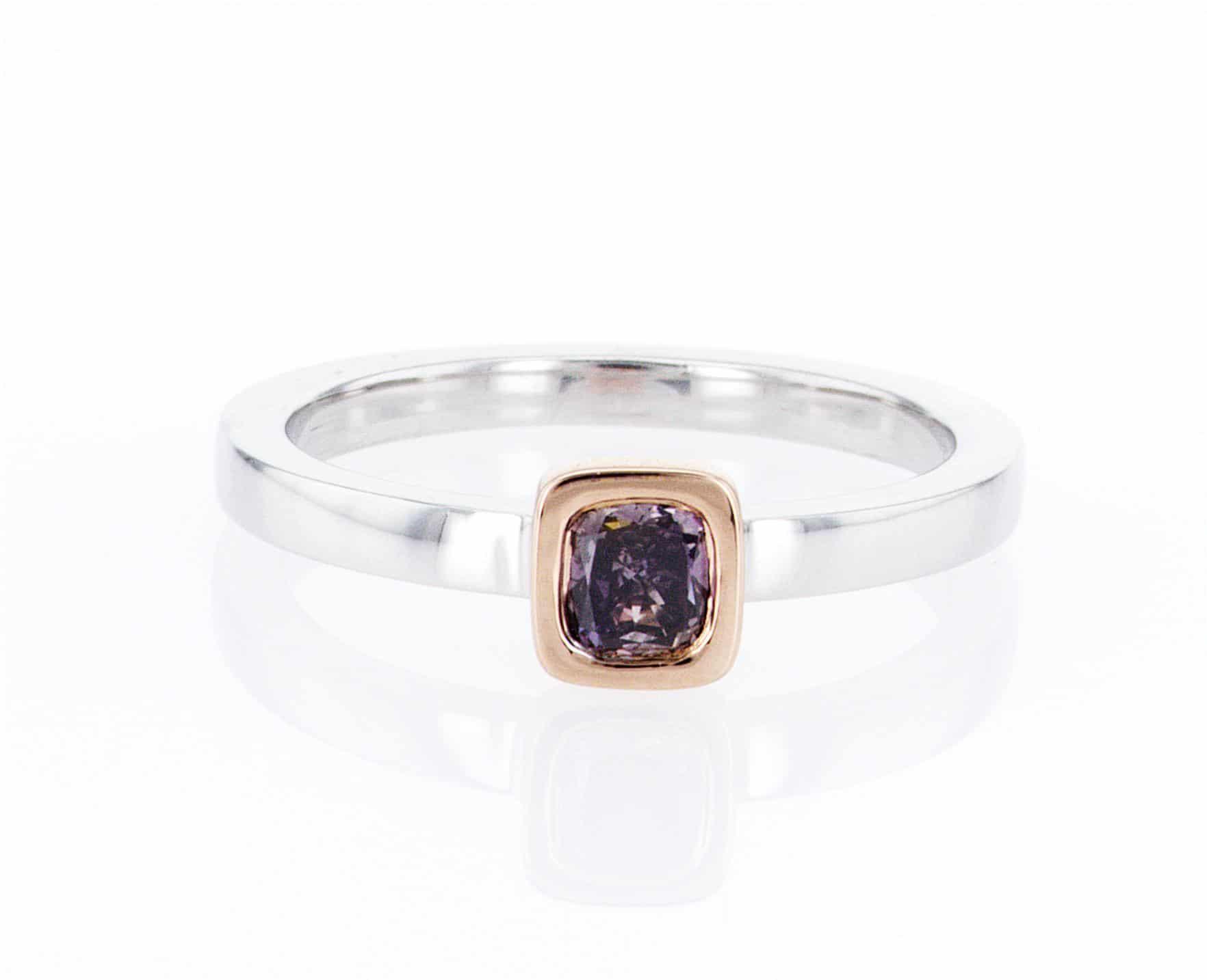 purple cushion diamond, white and rose gold stacking ring