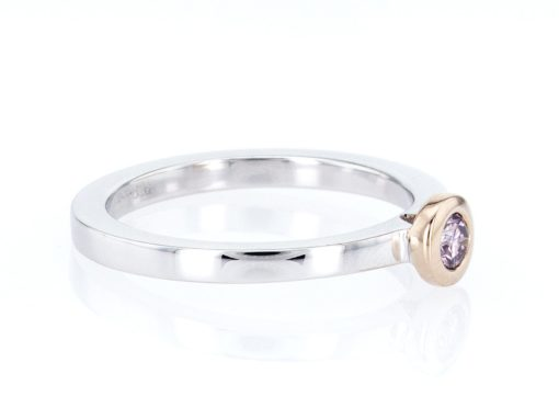 pink round diamond, white and rose gold stacking ring