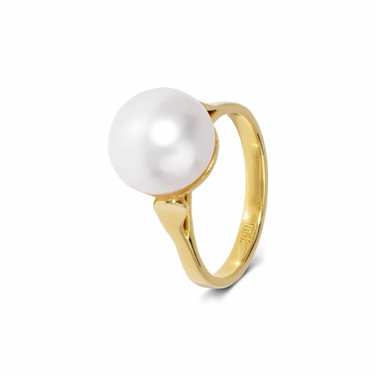 one-of-a-kind white pearl and yellow gold ring