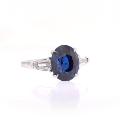 one-off royal blue sapphire, white diamond and platinum ring
