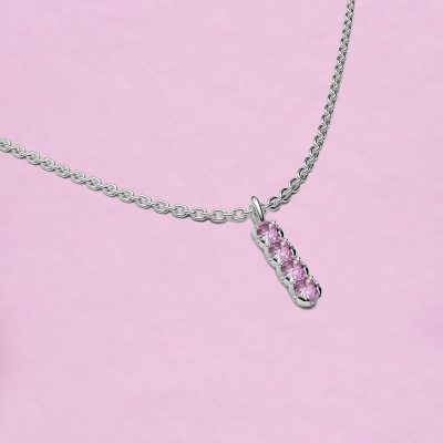 blossom necklace and short pendant - pink sapphire and 18k white gold