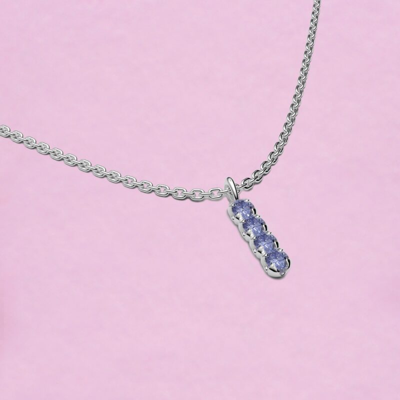 blossom necklace and short pendant - sky blue sapphire and 18k white gold