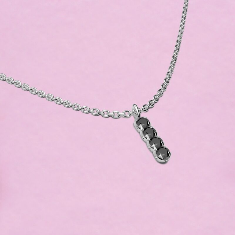 blossom necklace and short pendant - black diamond and 18k white gold