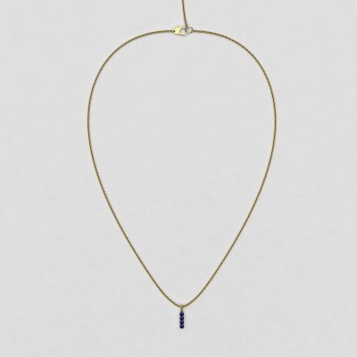 blossom necklace and short pendant  - royal blue sapphire and 18k yellow gold