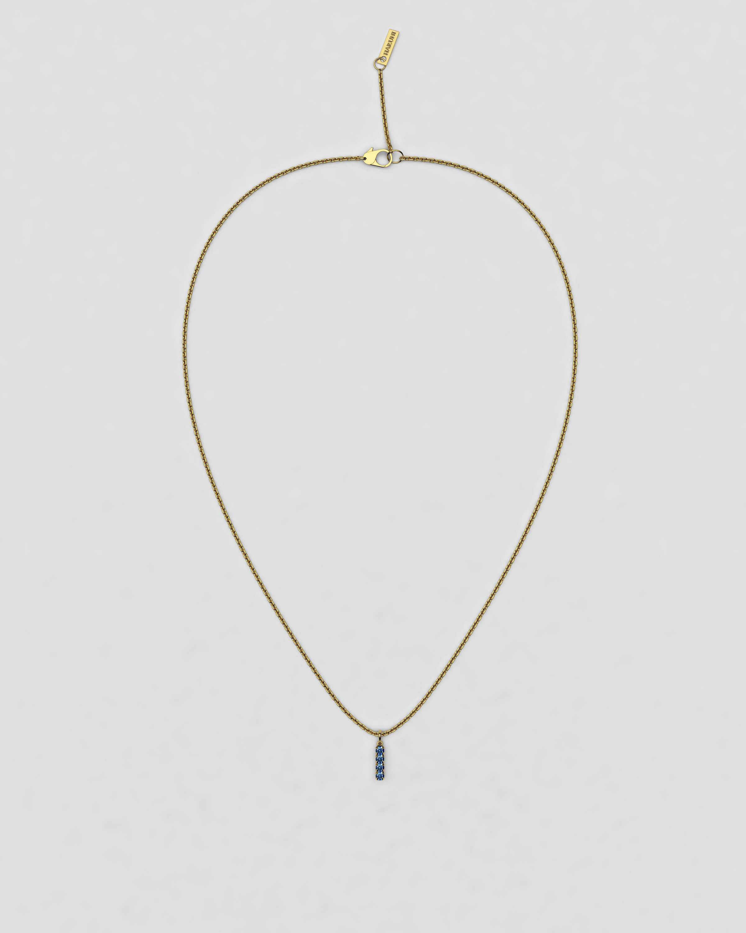 blossom necklace and short pendant  - cornflower blue sapphire and 18k yellow gold