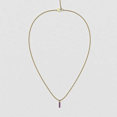blossom necklace and short pendant  - purple sapphire and 18k yellow gold