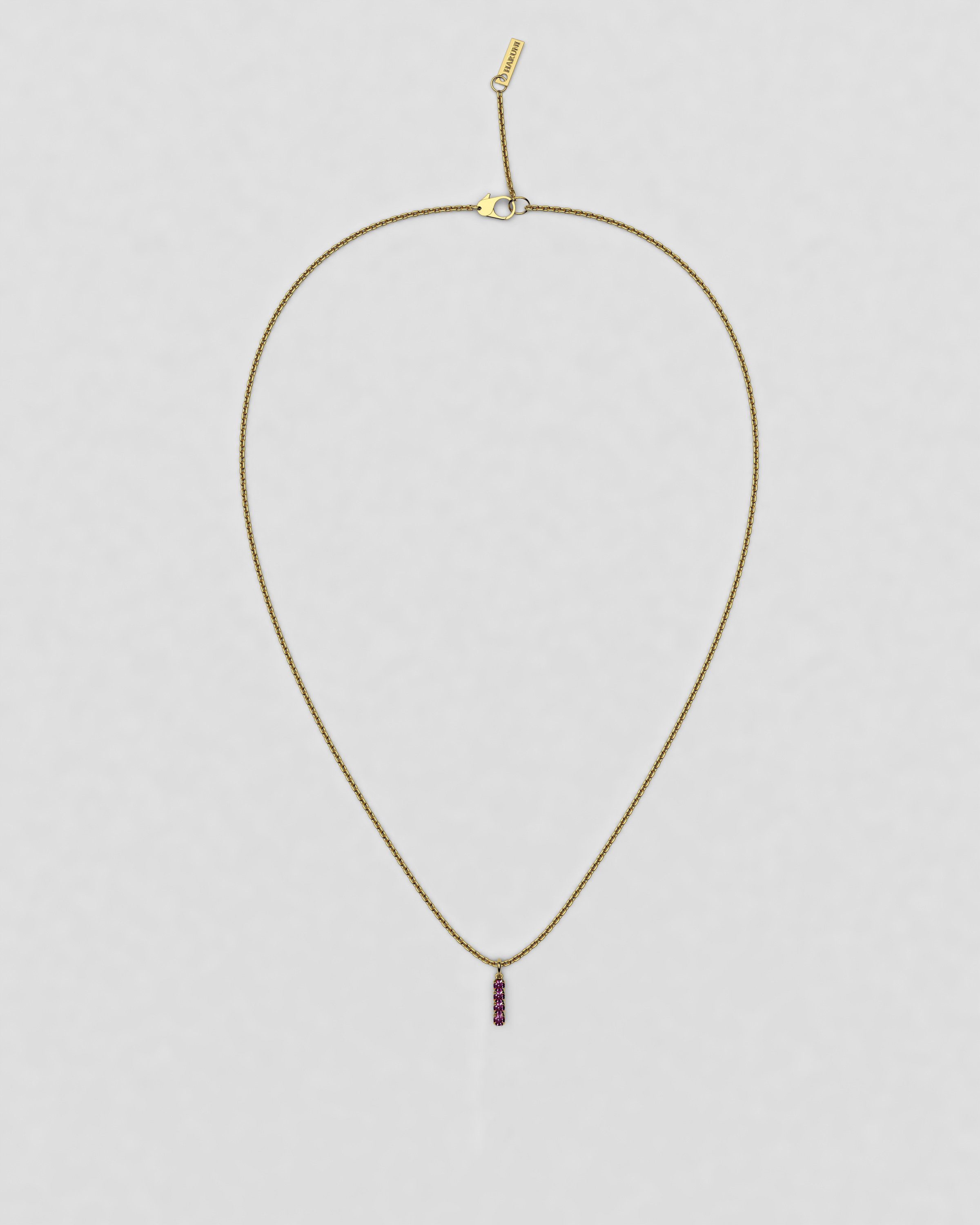 blossom necklace and short pendant  - fuchsia pink ruby and 18k yellow gold