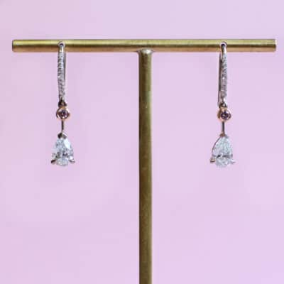 extraordinary white and pink diamond gold earrings