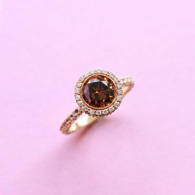classic halo brown diamond ring