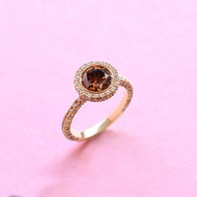 classic halo brown diamond ring