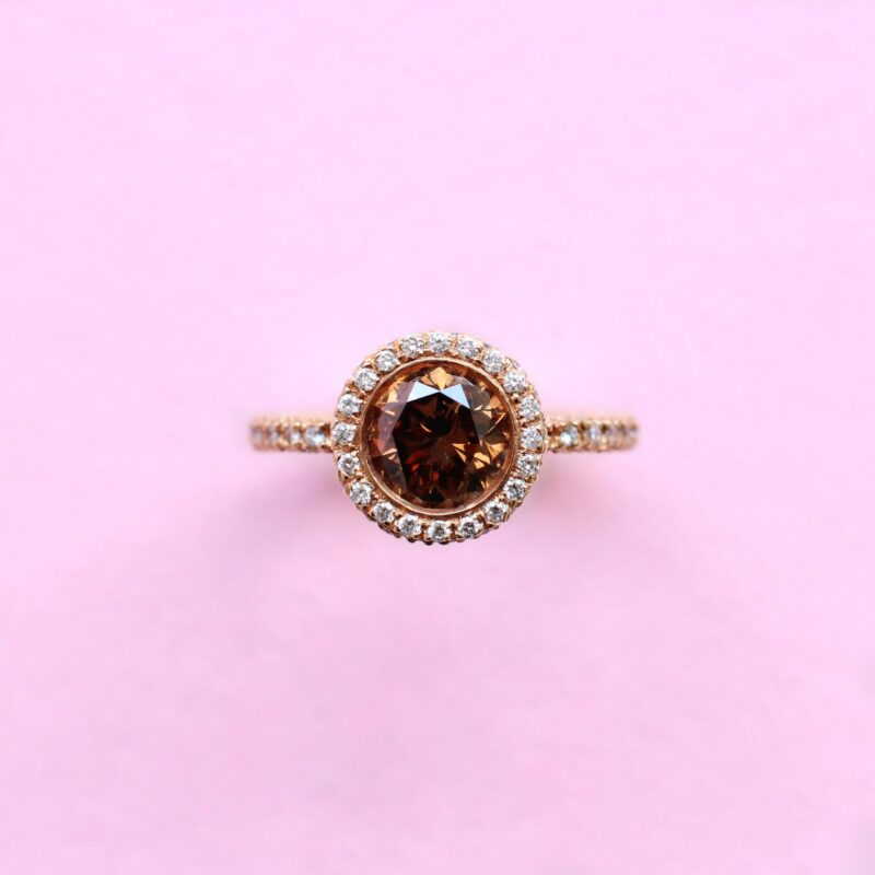 one-of-a-kind brown and white diamond halo ring