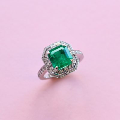 deco emerald and diamond ring