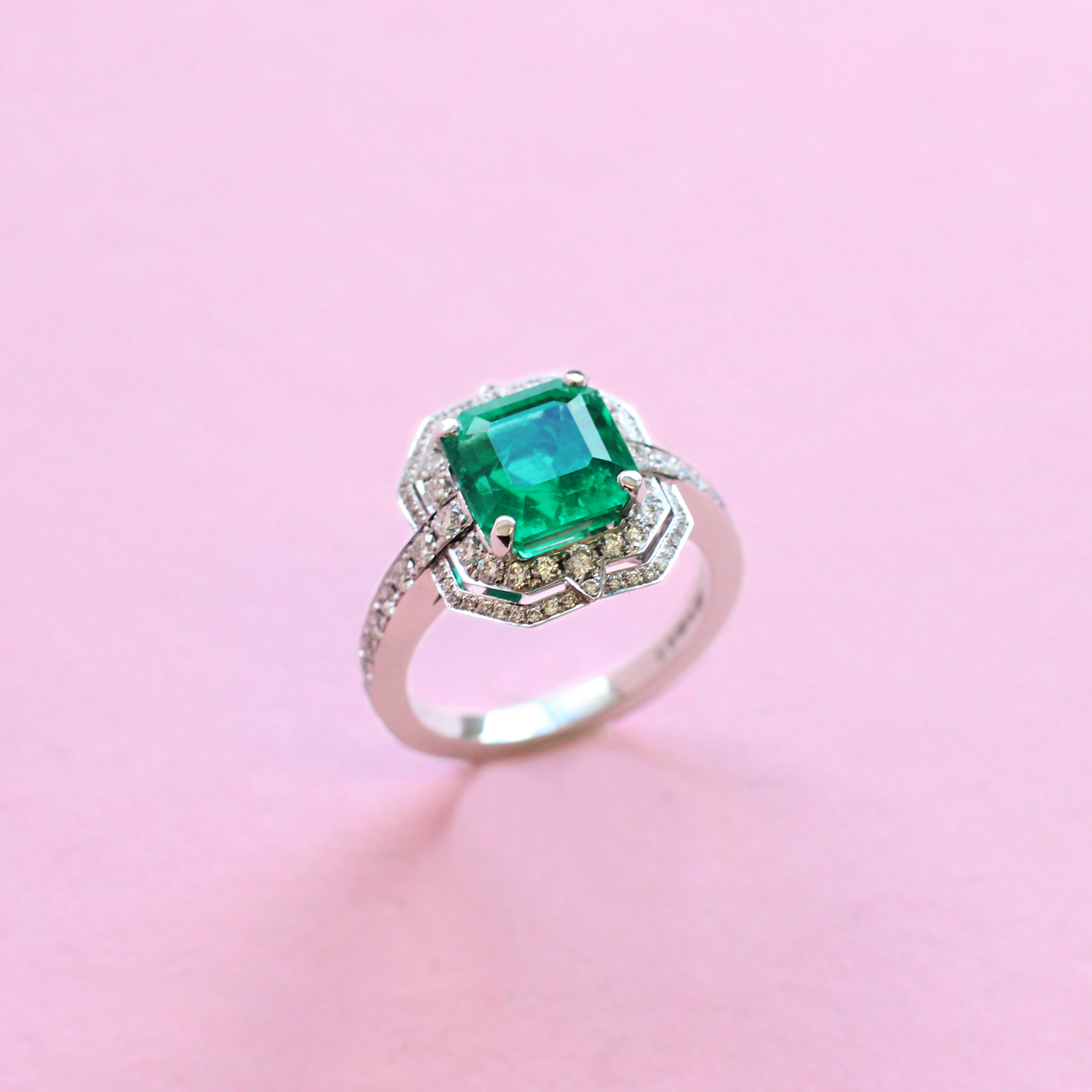 deco emerald and diamond ring