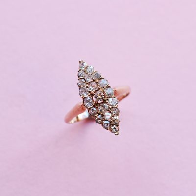 white diamond cluster navette ring