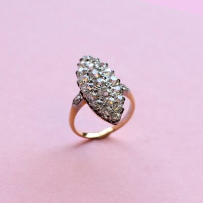 one-off white diamond ring in vintage cluster style