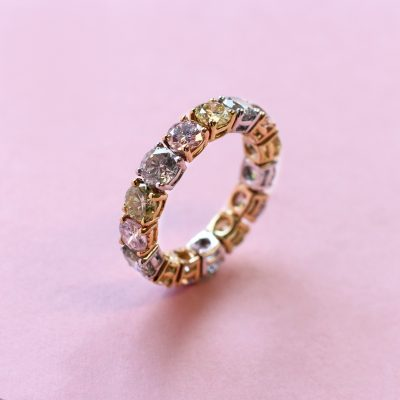 pink, yellow and grey diamond eternity ring