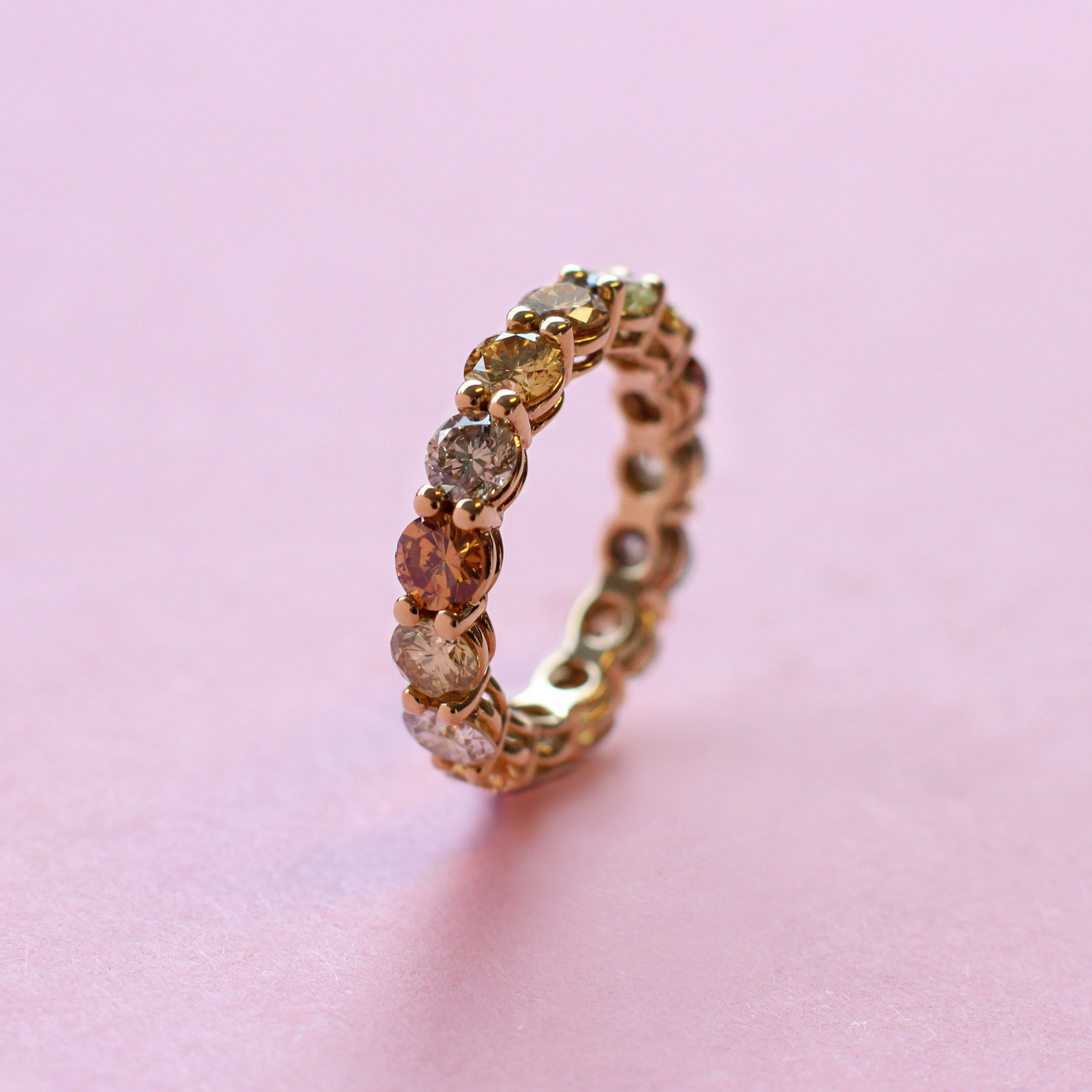 brown, yellow and grey diamond eternity ring