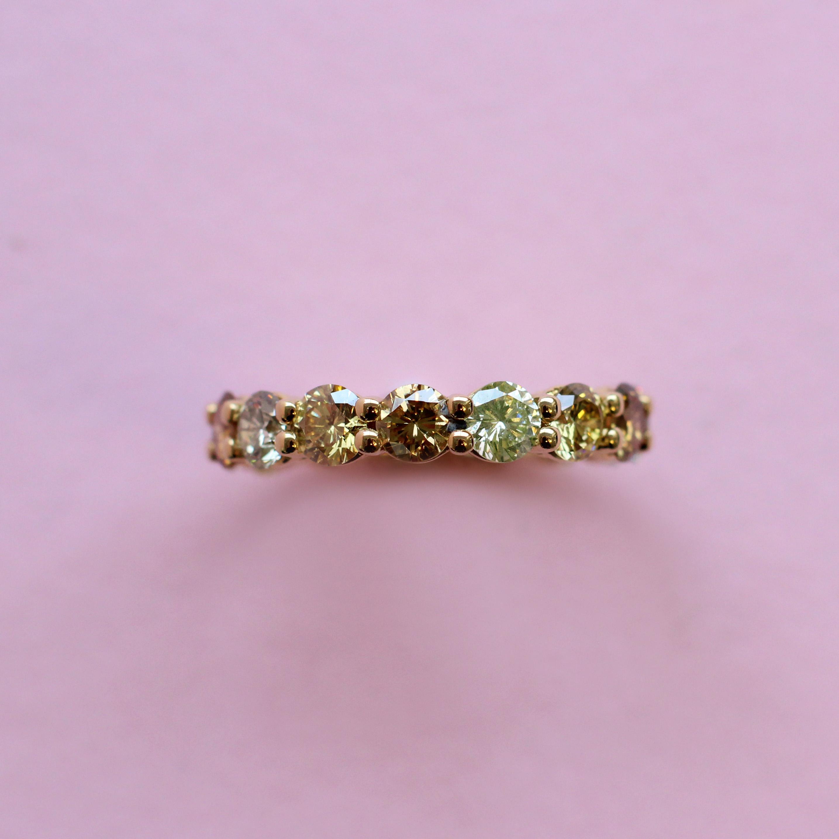 brown, yellow and grey diamond eternity ring
