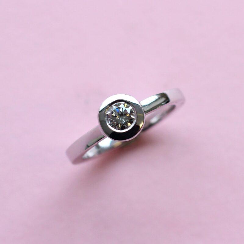 elegant grey diamond and white gold stacking ring