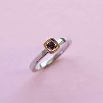 delicate purple cushion diamond stacking ring