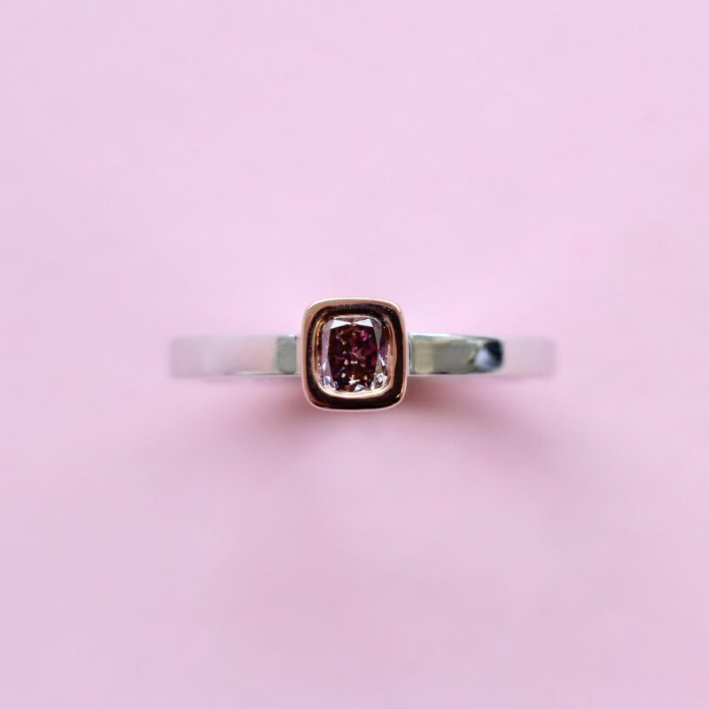 delicate purple cushion diamond stacking ring