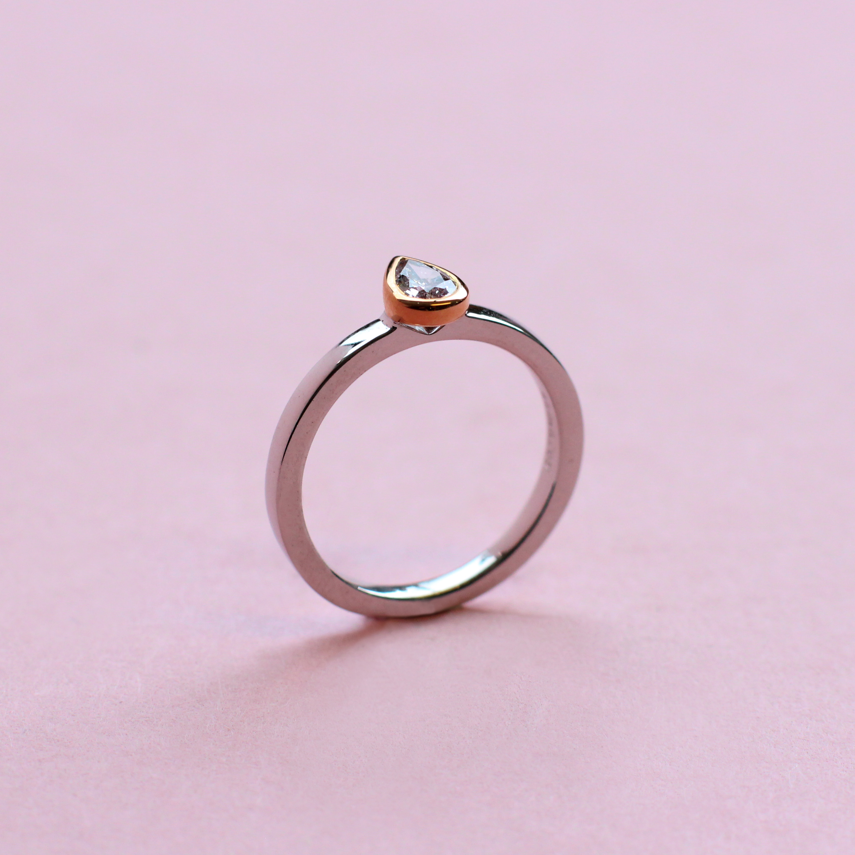 pink pear shape, white and rose gold stacking ring
