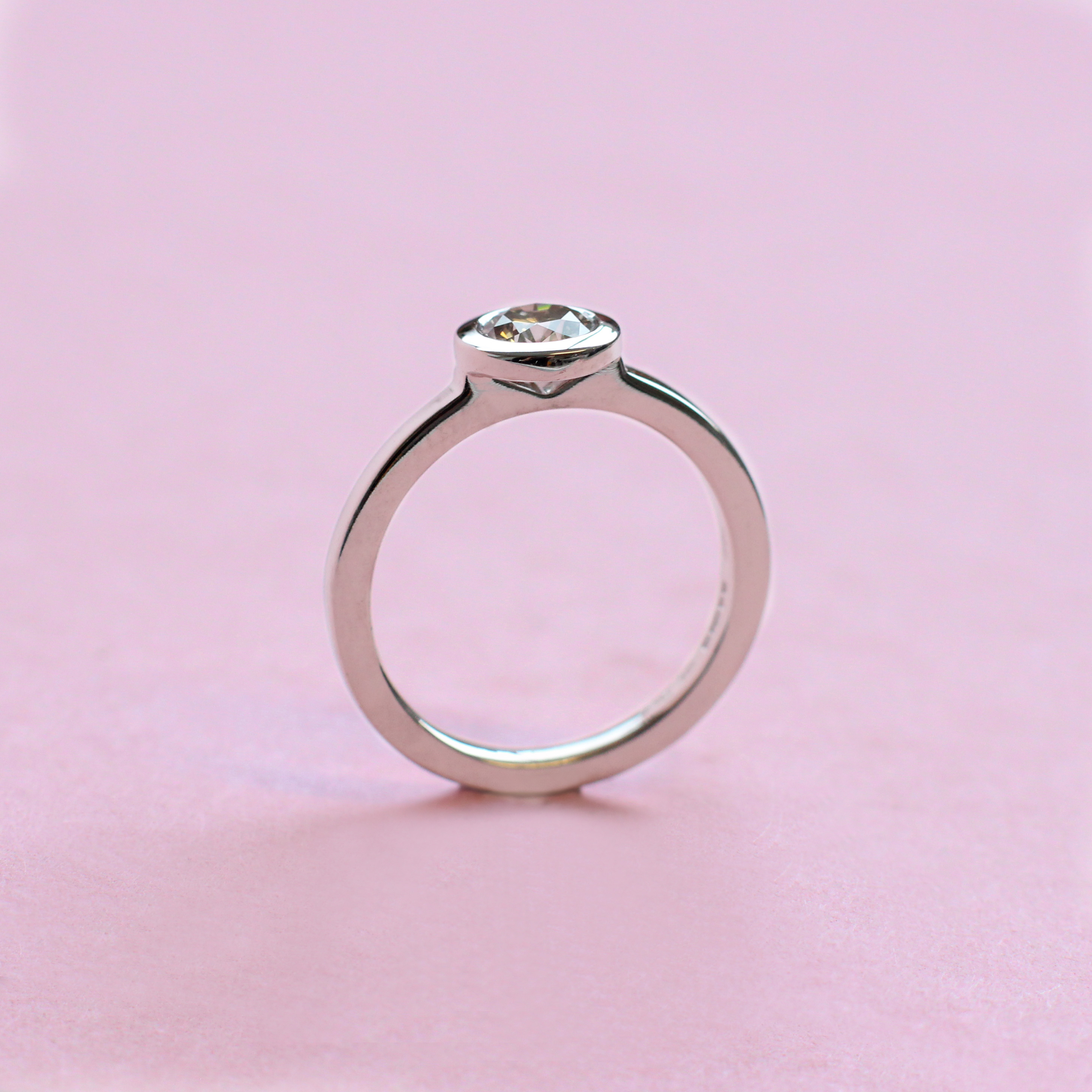gray diamond and white gold stacking ring