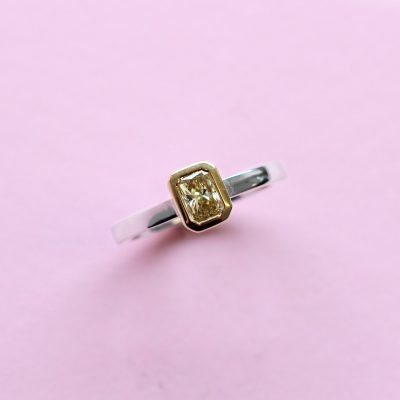 yellow octagon diamond, white and yellow gold stacking ring