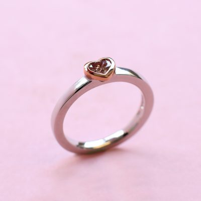pink heart shape diamond, white and rose gold stacking ring