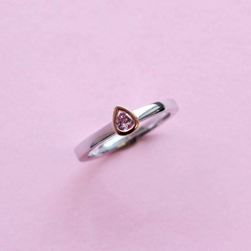 elegant pink diamond stacking ring