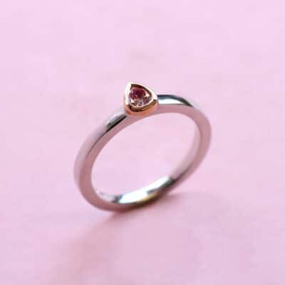 elegant pink diamond stacking ring