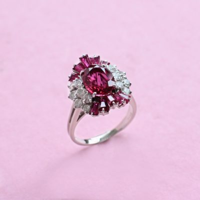 ruby and diamond/ ruby cluster ring