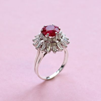 round ruby and diamond cluster ring