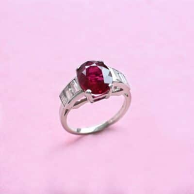 unique red ruby and diamond platinum ring