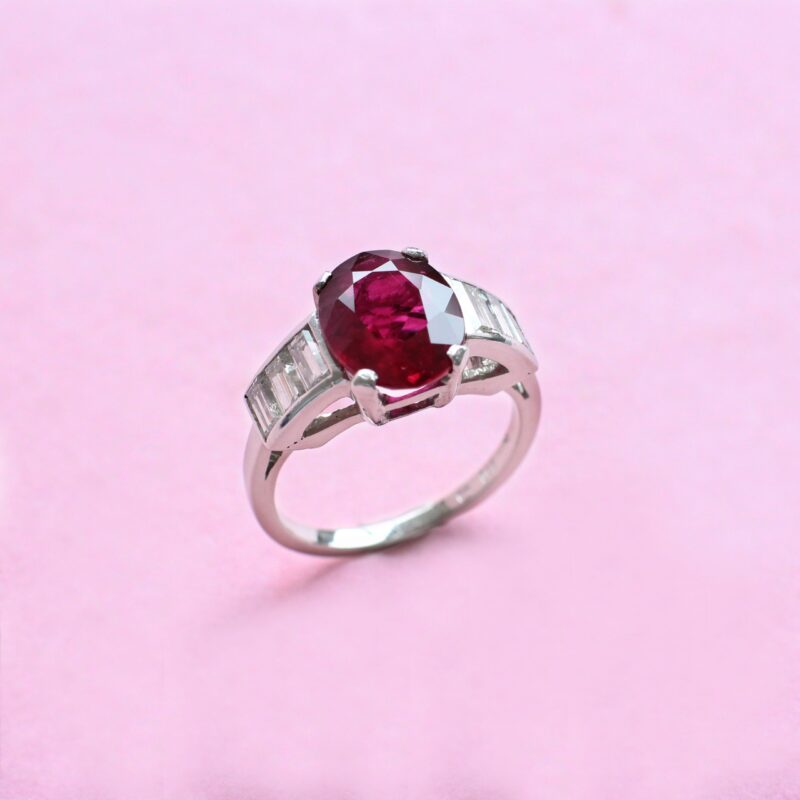 unique red ruby and diamond platinum ring