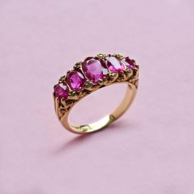 exceptional five-stone red ruby ring in vintage style