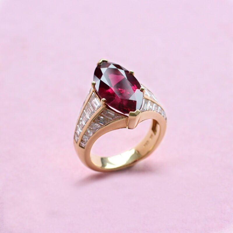 spectactular ruby and diamond marquise ring