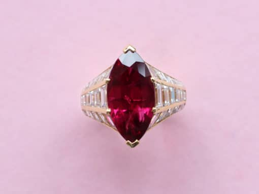marquise ruby and baguette diamonds ring