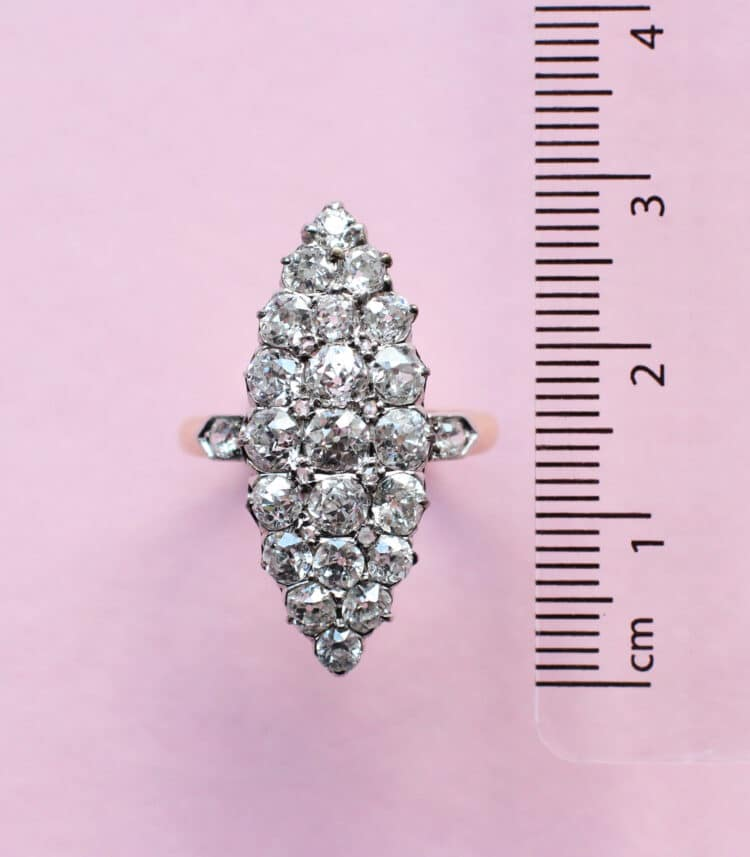white diamond ring in vintage cluster style
