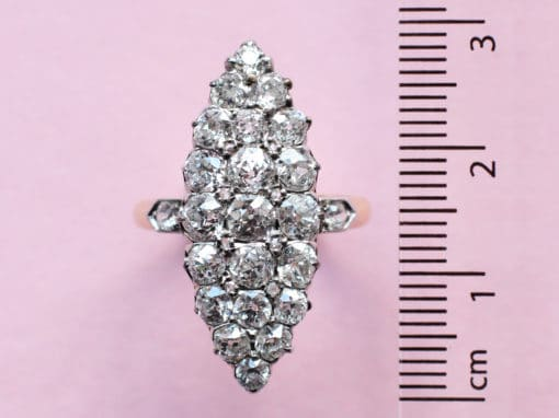vintage style white diamond cluster navette ring