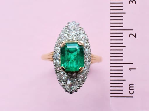 octagon emerald and diamond marquise shape ring