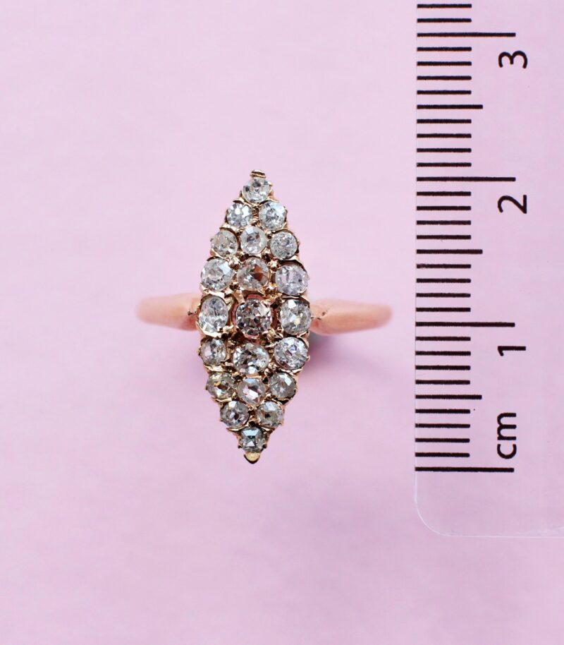one-off white diamond vintage-style navette cluster ring