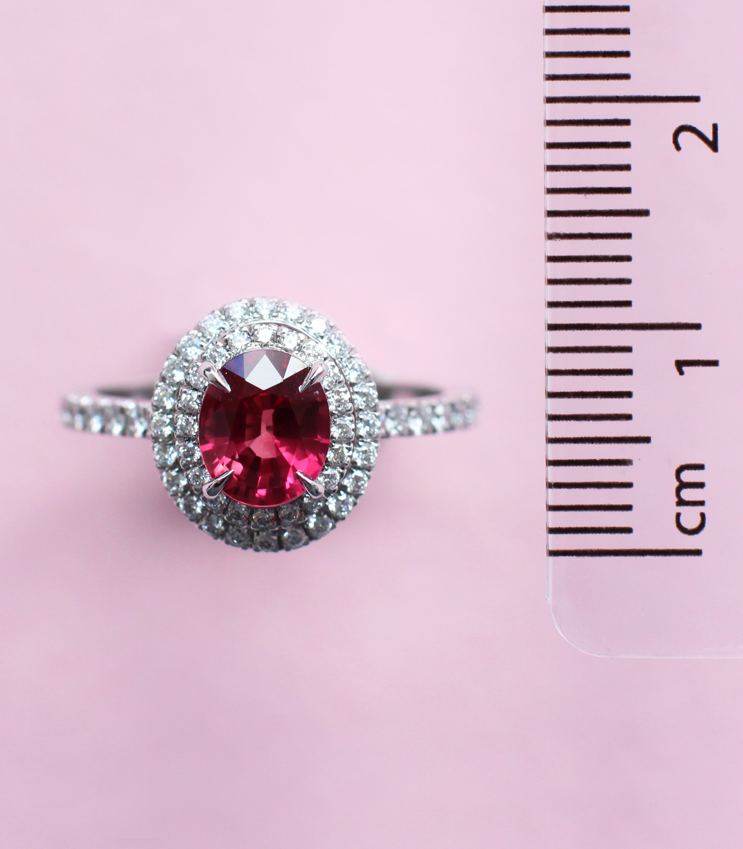 oval ruby double halo ring