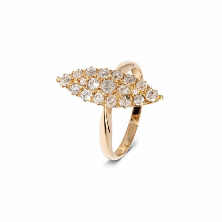 white diamond vintage-style navette cluster ring