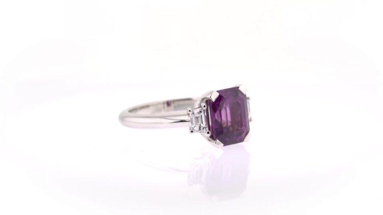extraordinary purple sapphire trilogy ring with diamonds