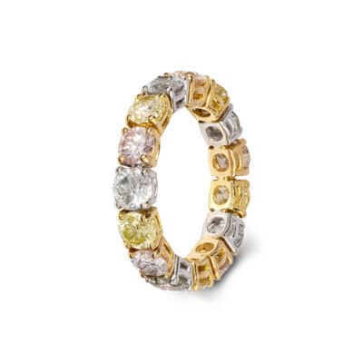 spectacular multicoloured diamond and gold eternity ring