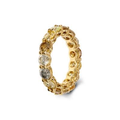 striking grey, yellow and brown diamond eternity ring