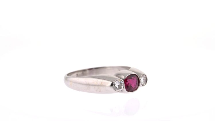 exceptional ruby and diamond three-stone ring