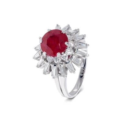unique red ruby and white diamond cluster ring